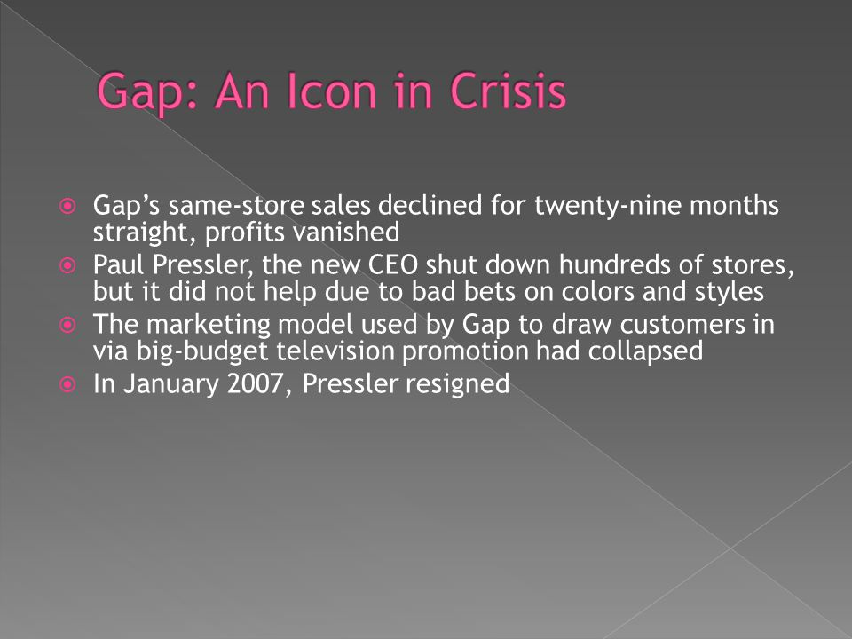 Gap: An Icon in Crisis Gap's same-store sales declined for twenty-nine months straight, profits vanished.