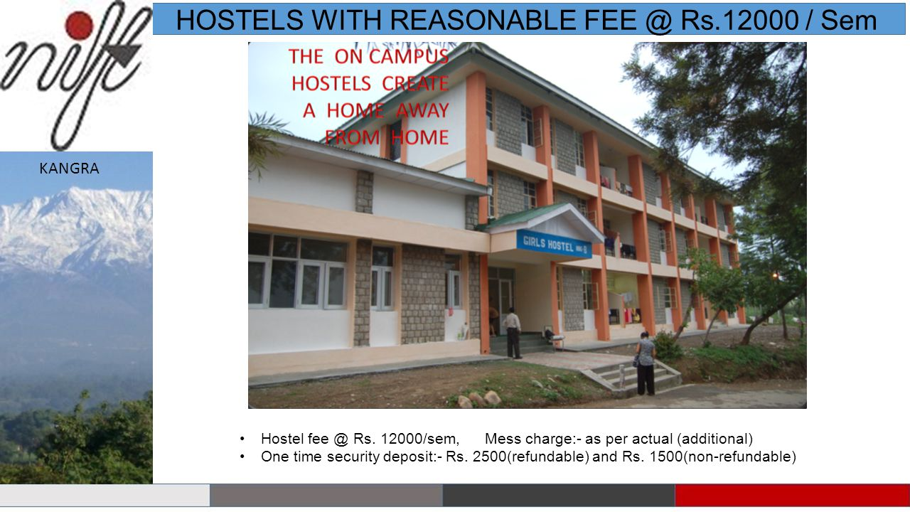 HOSTELS WITH REASONABLE FEE @ Rs.12000 / Sem