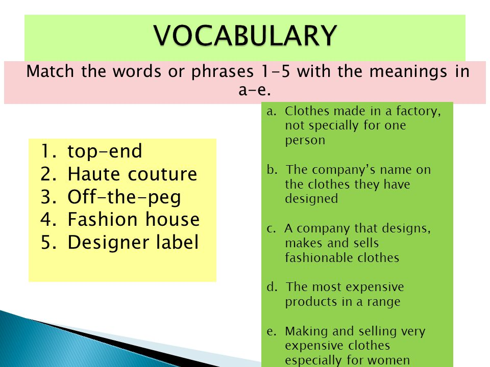 Match the words or phrases 1-5 with the meanings in a-e.