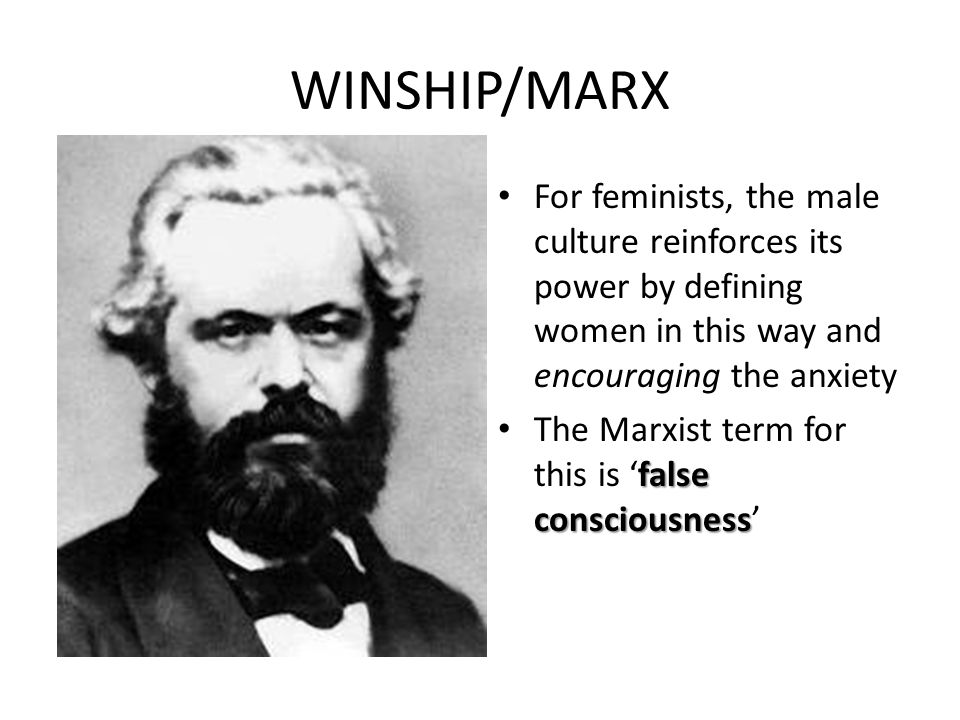 WINSHIP/MARX For feminists, the male culture reinforces its power by defining women in this way and encouraging the anxiety.