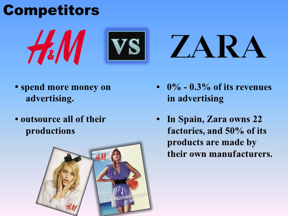 VS Competitors • spend more money on advertising.