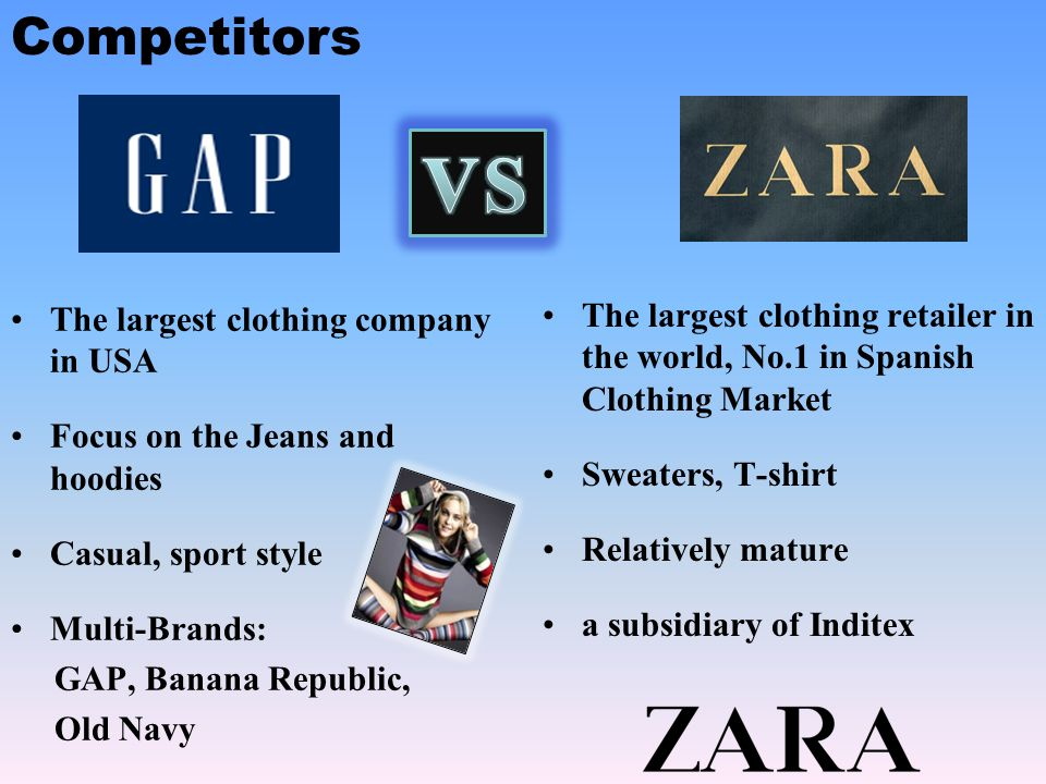 VS Competitors The largest clothing company in USA