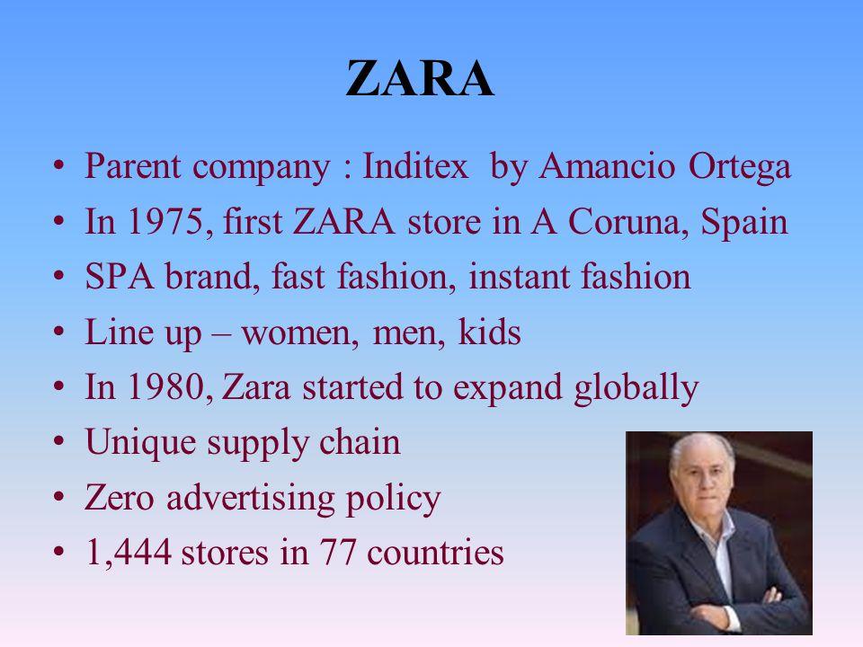 ZARA Parent company : Inditex by Amancio Ortega