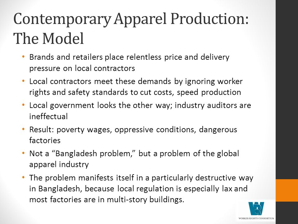 Contemporary Apparel Production: The Model
