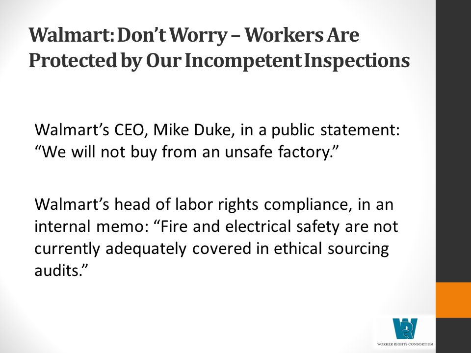 Walmart: Don't Worry – Workers Are Protected by Our Incompetent Inspections