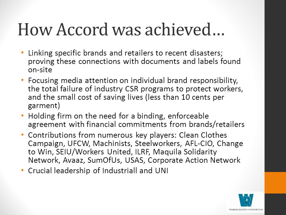 How Accord was achieved…