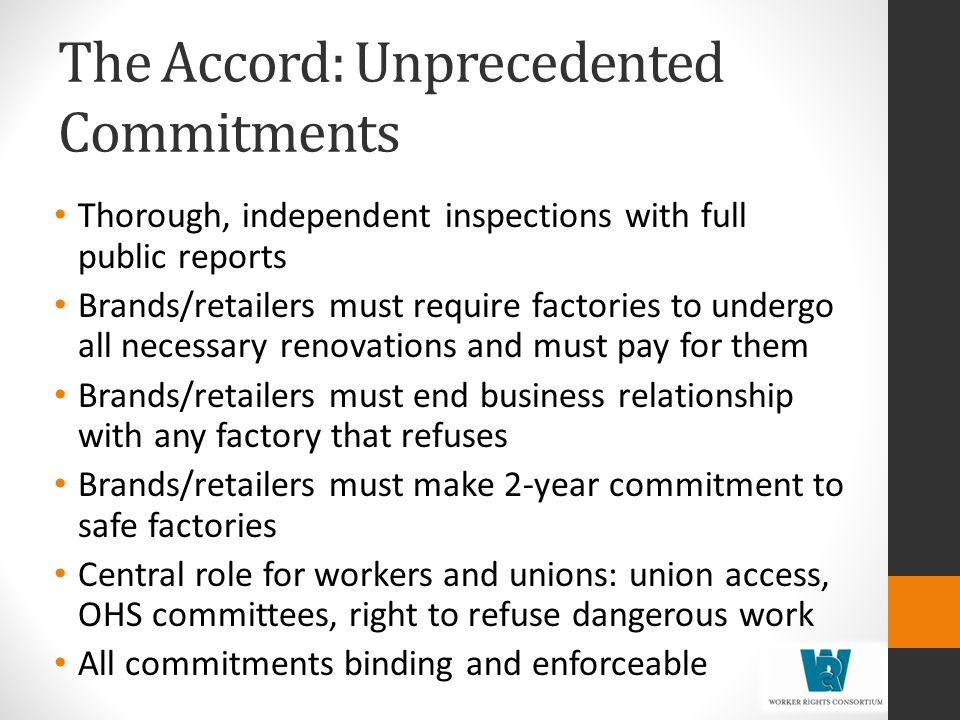 The Accord: Unprecedented Commitments