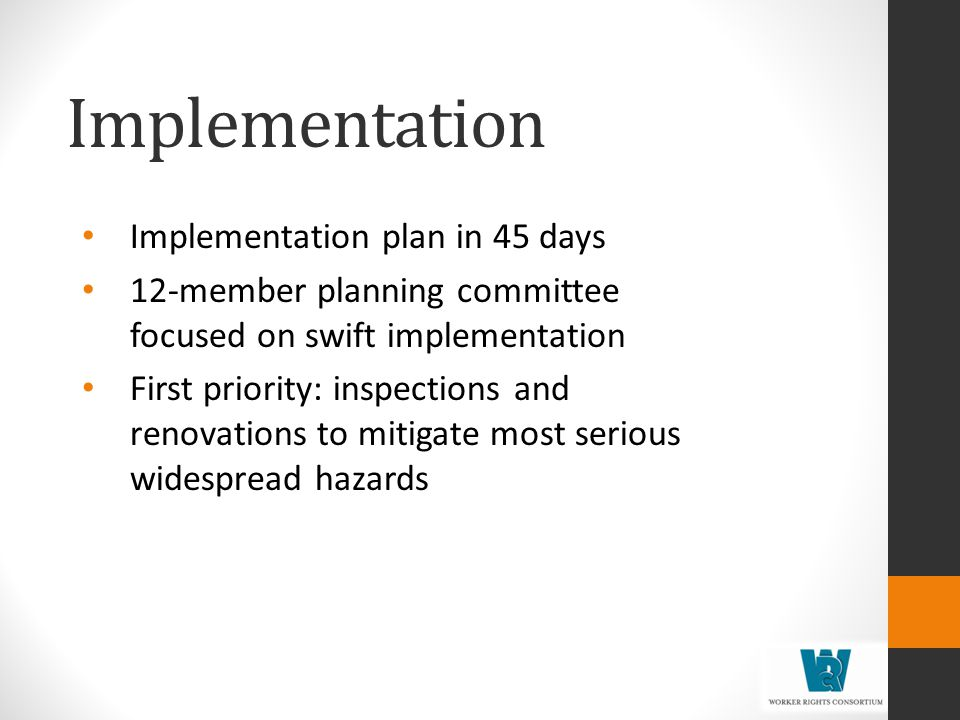Implementation Implementation plan in 45 days