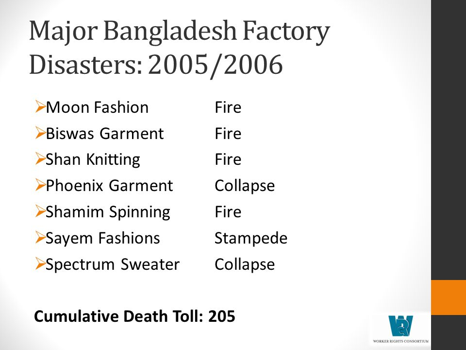 Major Bangladesh Factory Disasters: 2005/2006