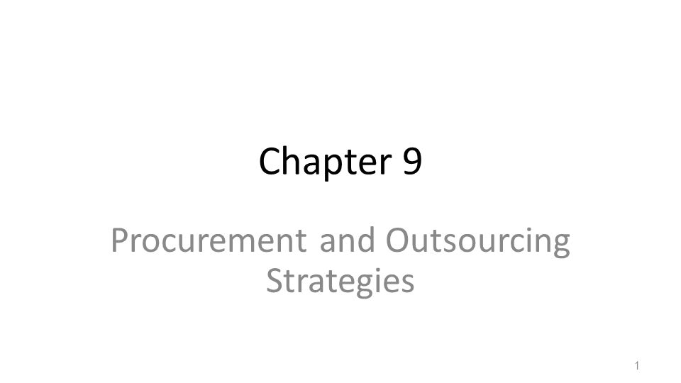 Procurement and Outsourcing Strategies