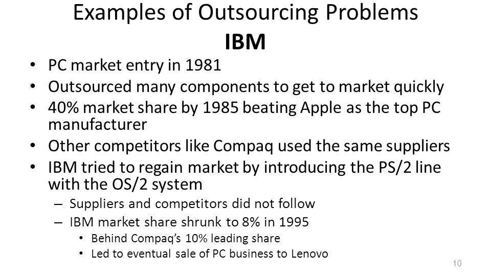Examples of Outsourcing Problems IBM