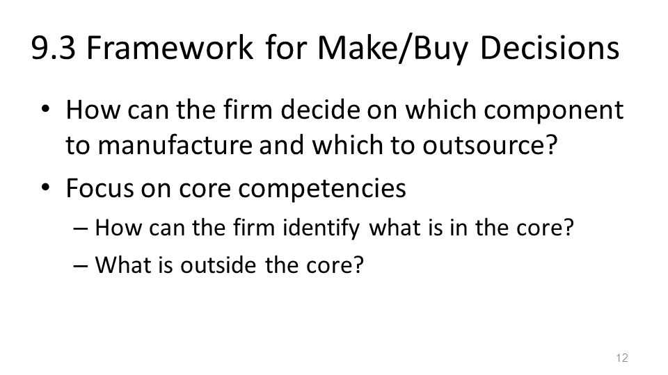9.3 Framework for Make/Buy Decisions