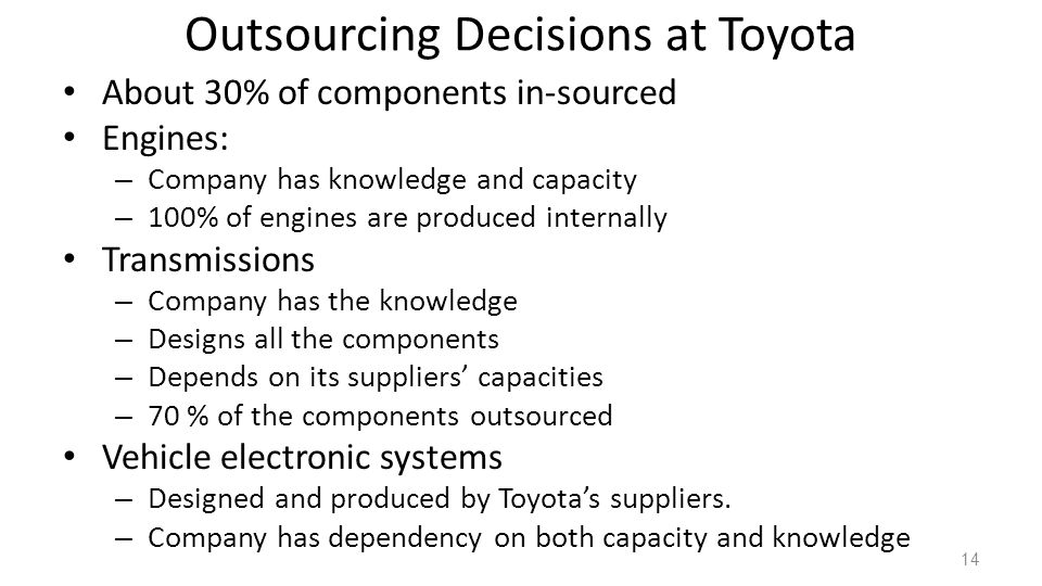 Outsourcing Decisions at Toyota