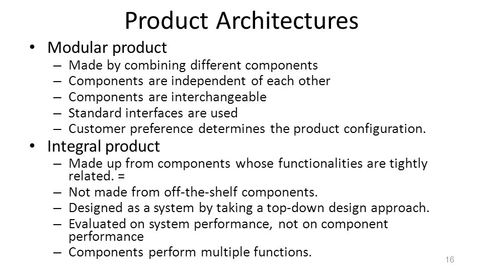Product Architectures