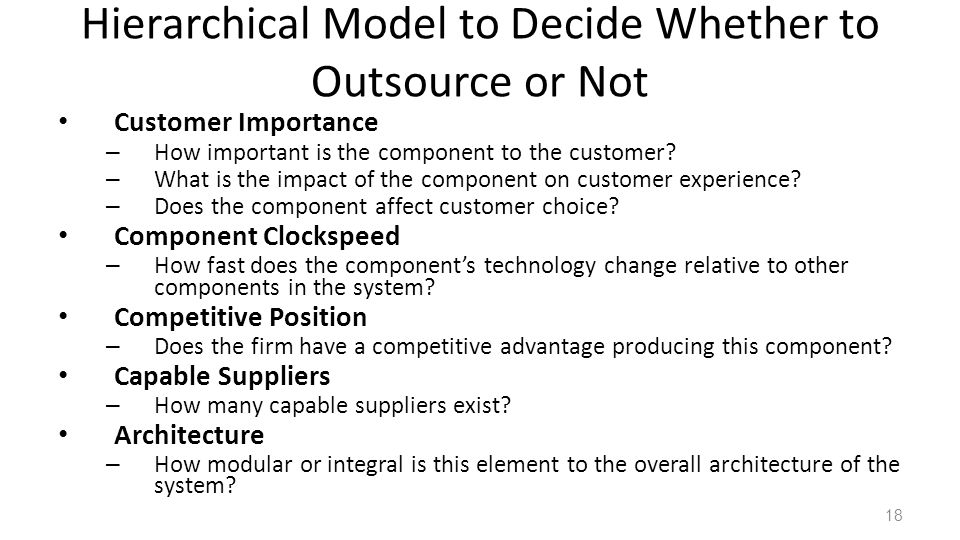 Hierarchical Model to Decide Whether to Outsource or Not