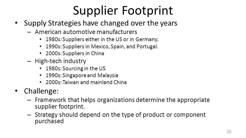 Supplier Footprint Supply Strategies have changed over the years