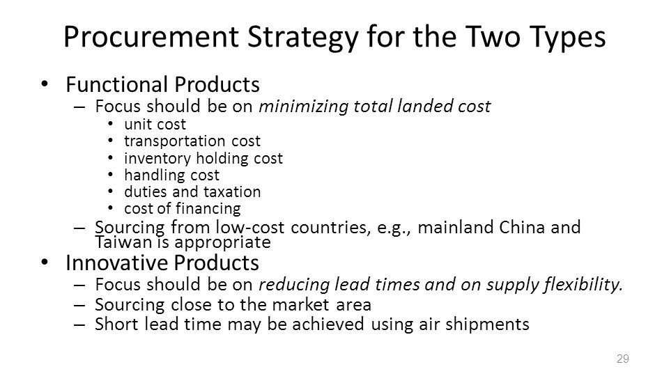 Procurement Strategy for the Two Types