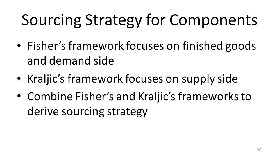 Sourcing Strategy for Components
