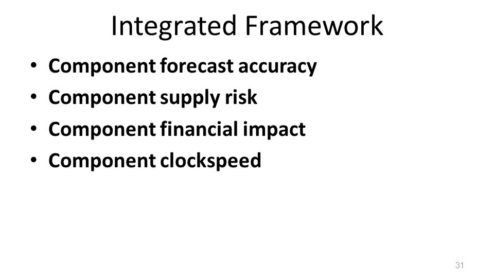 Integrated Framework Component forecast accuracy Component supply risk