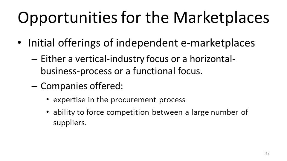 Opportunities for the Marketplaces