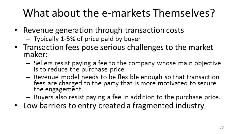 What about the e-markets Themselves