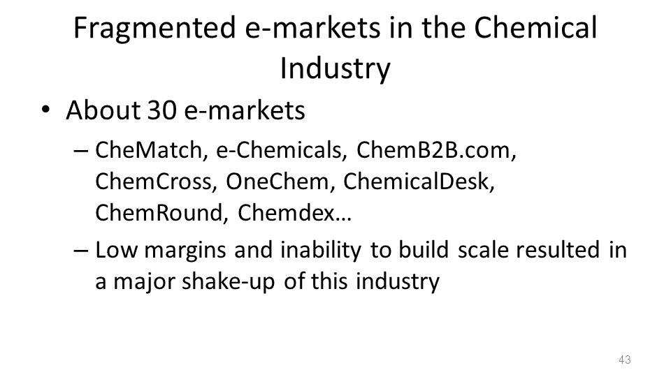 Fragmented e-markets in the Chemical Industry