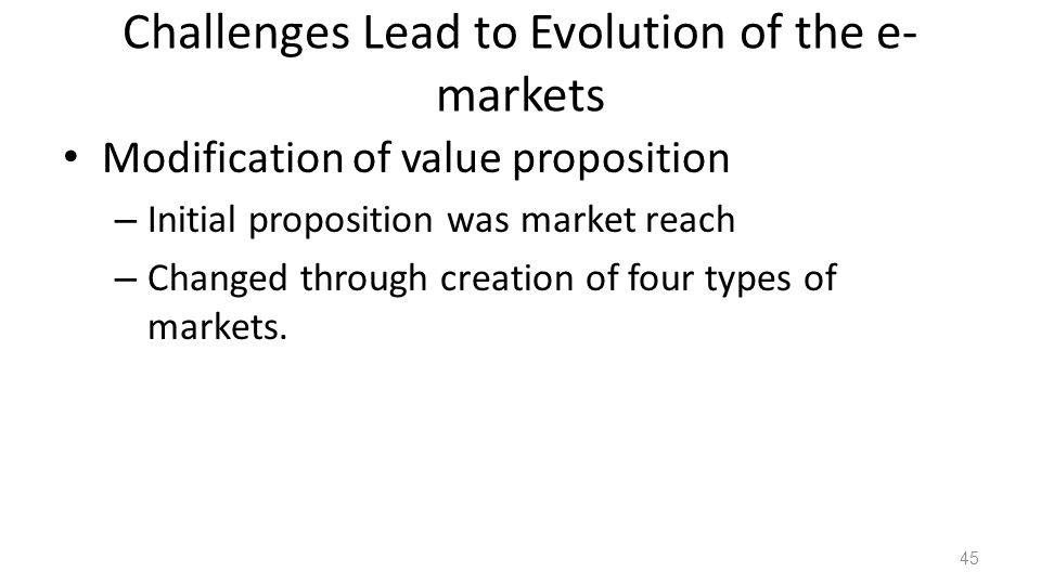 Challenges Lead to Evolution of the e-markets