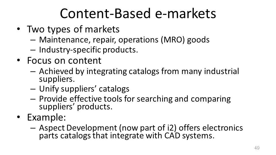 Content-Based e-markets
