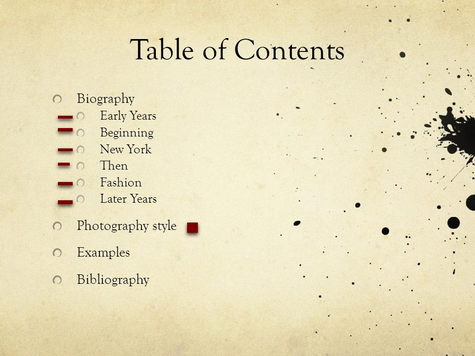 Table of Contents Biography Photography style Examples Bibliography