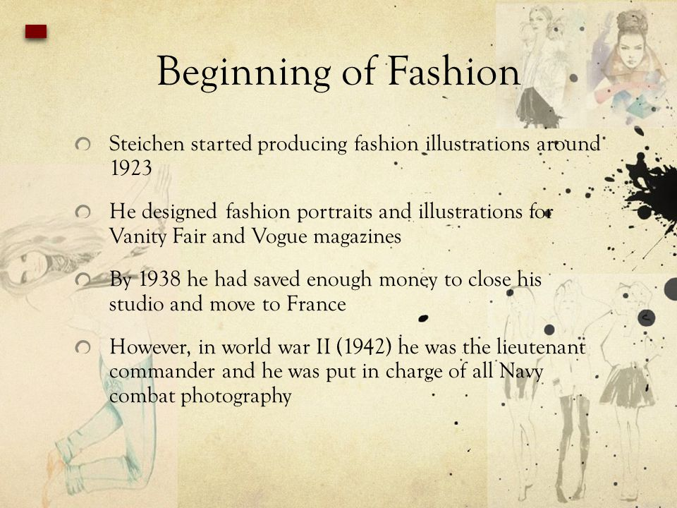 Beginning of Fashion Steichen started producing fashion illustrations around 1923.