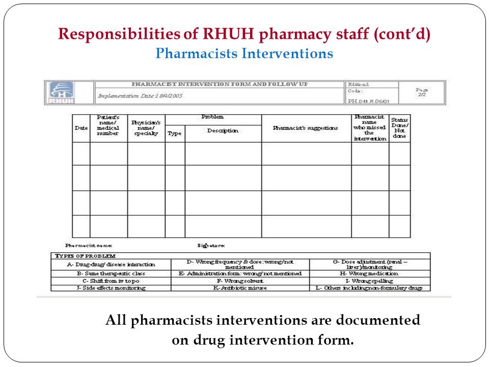 Responsibilities of RHUH pharmacy staff (cont'd) Pharmacists Interventions