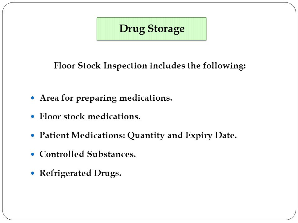 Floor Stock Inspection includes the following: