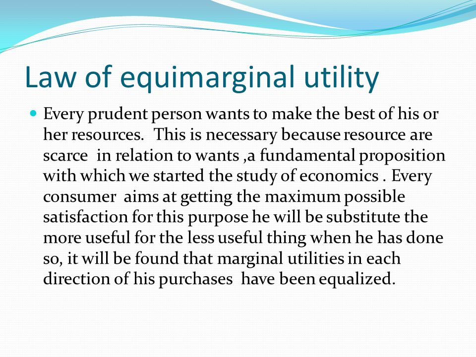 Law of equimarginal utility