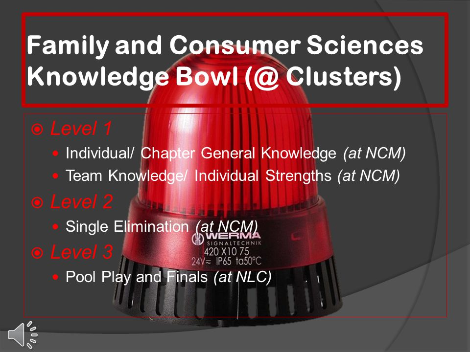 Family and Consumer Sciences Knowledge Bowl (@ Clusters)