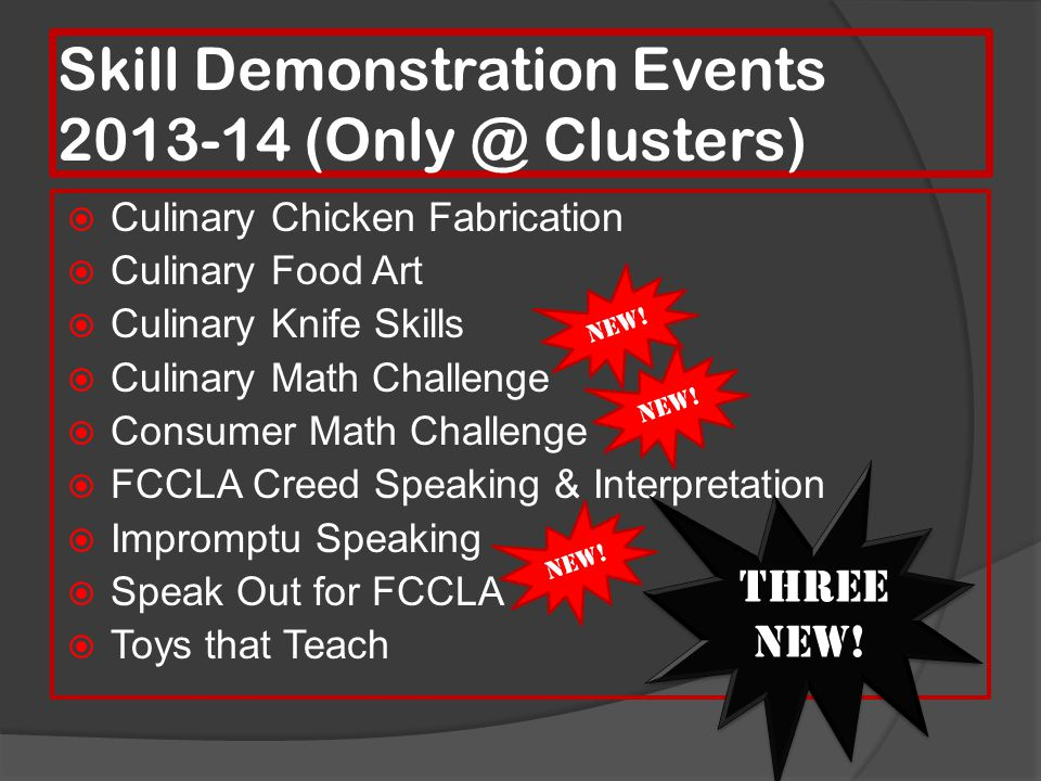 Skill Demonstration Events 2013-14 (Only @ Clusters)