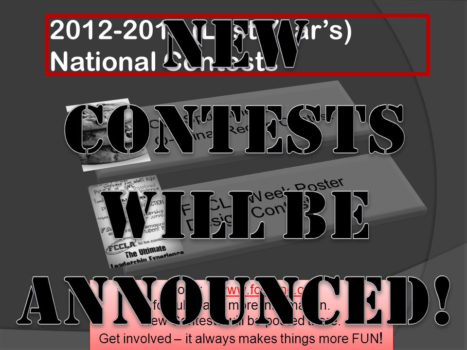 2012-2013 (Last Year's) National Contests