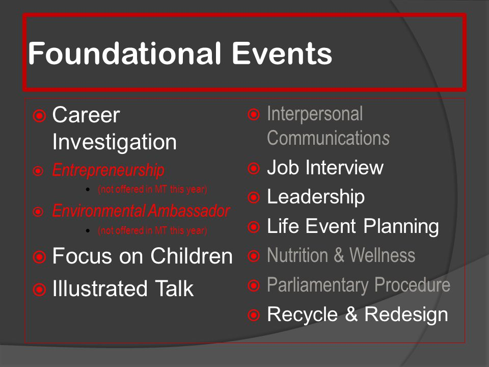 Foundational Events Career Investigation Focus on Children