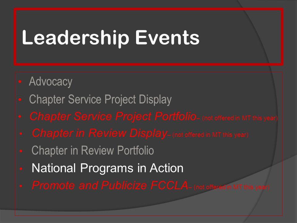 Leadership Events Advocacy Chapter Service Project Display