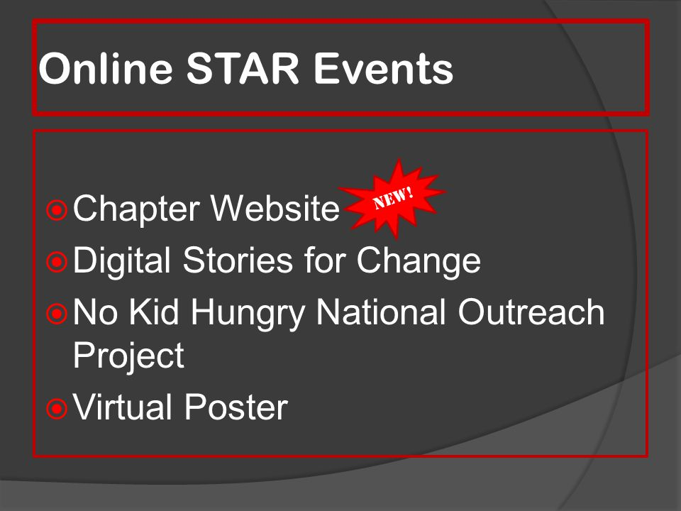 Online STAR Events Chapter Website Digital Stories for Change