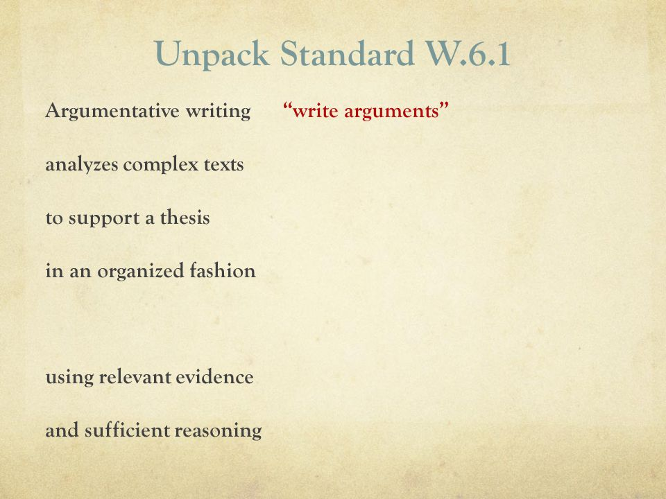 Unpack Standard W.6.1 Argumentative writing analyzes complex texts