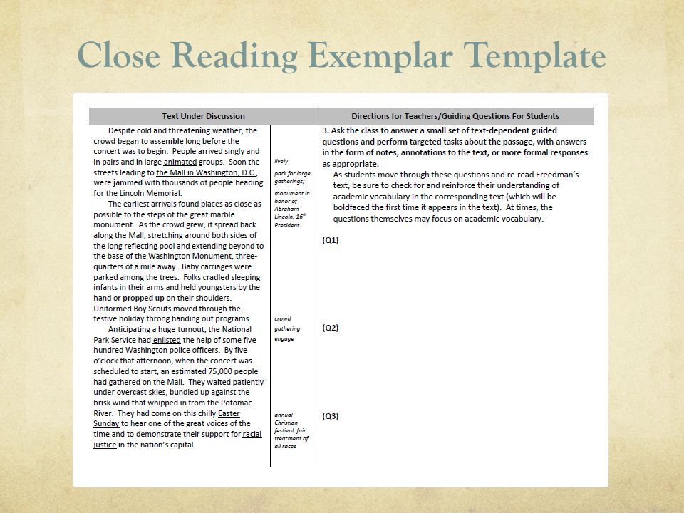 Close Reading Exemplar Template