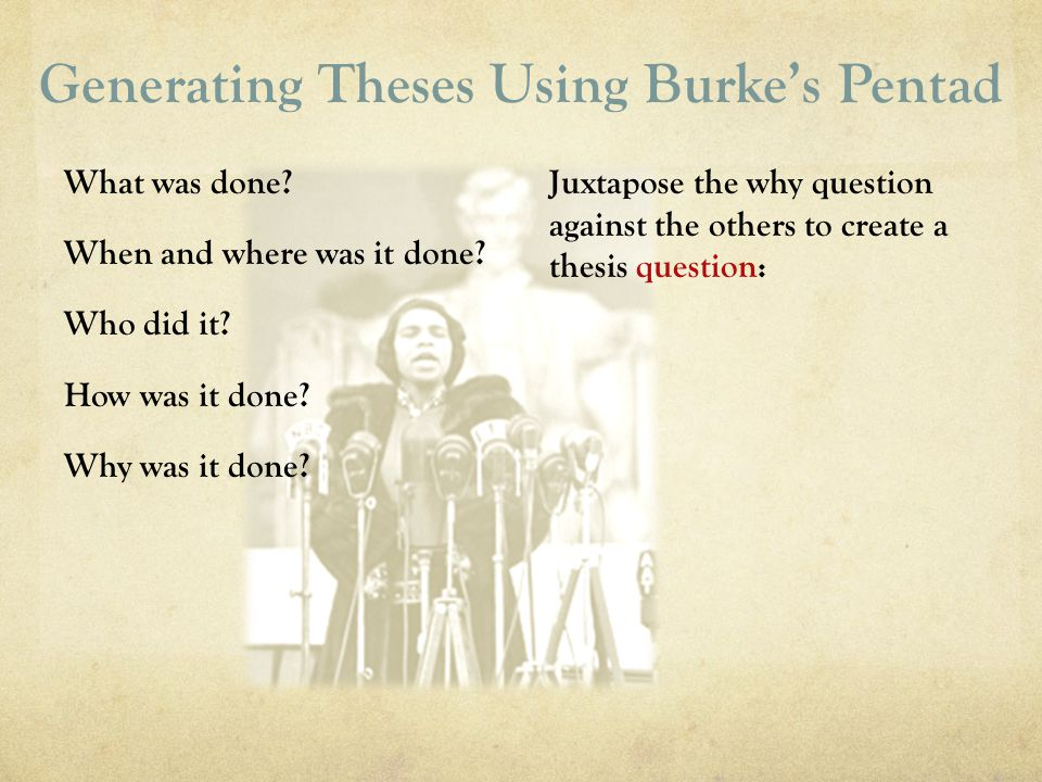 Generating Theses Using Burke's Pentad