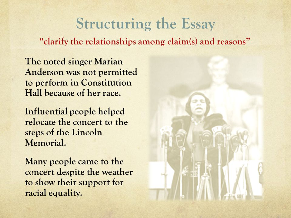 Structuring the Essay clarify the relationships among claim(s) and reasons