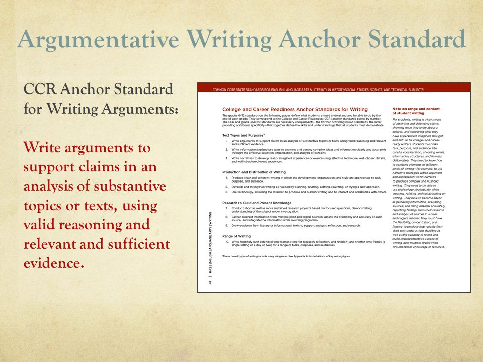 Argumentative Writing Anchor Standard