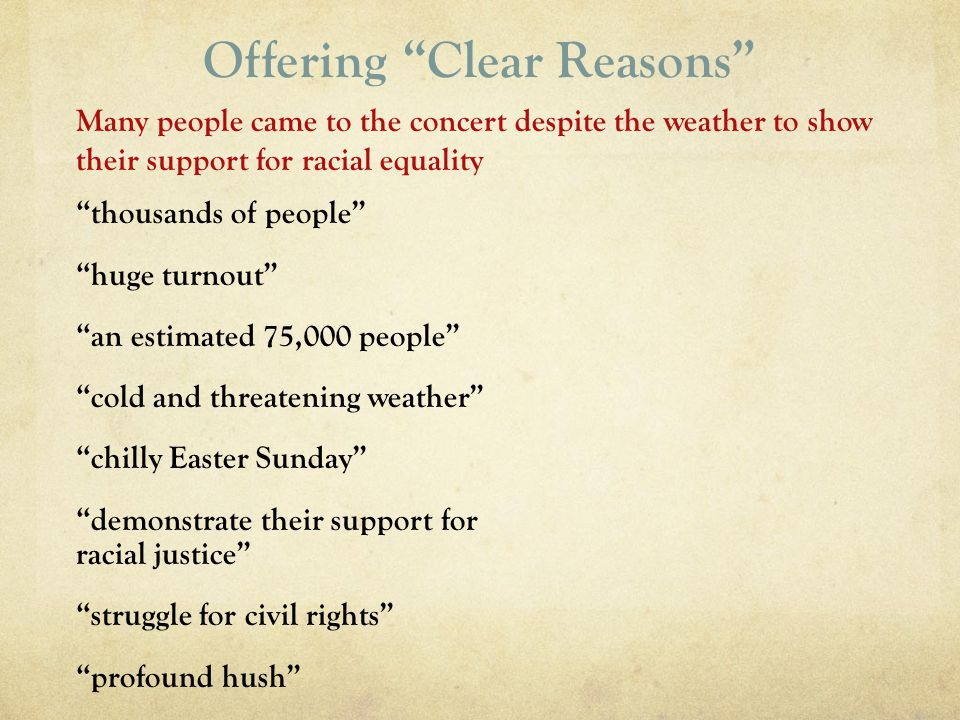 Offering Clear Reasons