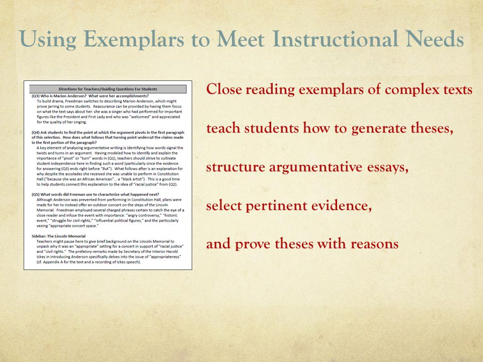 Using Exemplars to Meet Instructional Needs