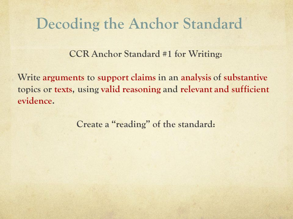 Decoding the Anchor Standard