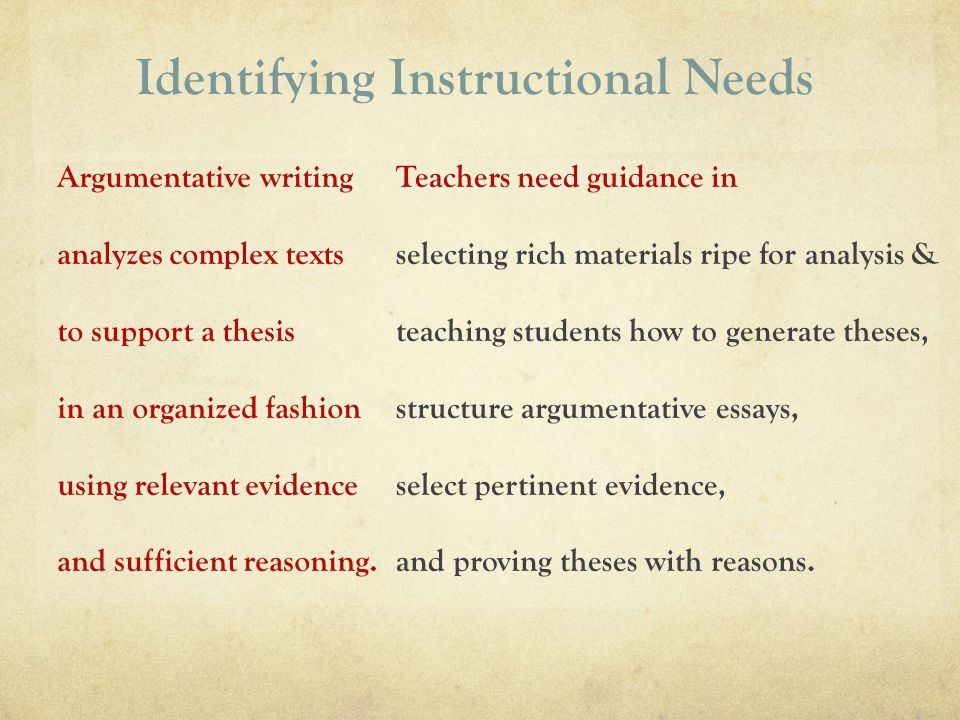 Identifying Instructional Needs