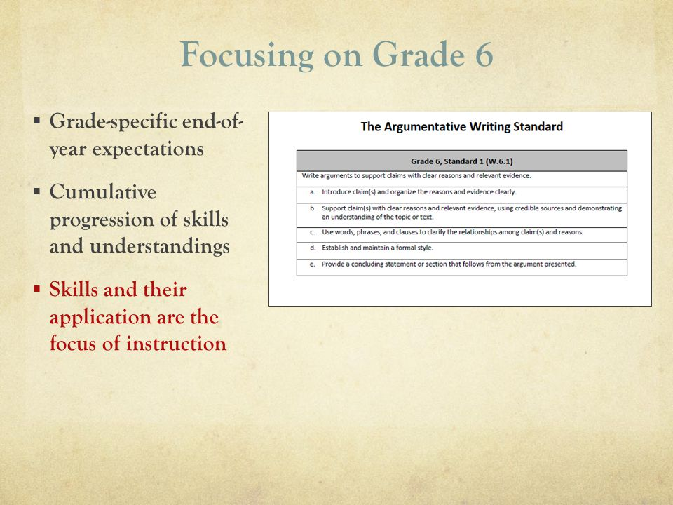 Focusing on Grade 6 Grade-specific end-of- year expectations