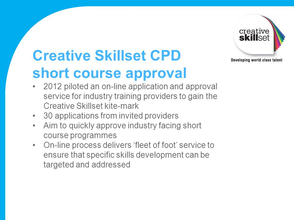 Creative Skillset CPD short course approval